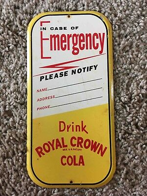 Vintage RC Royal Crown Cola Soda Tin Advertising Emergency Contact Store Sign