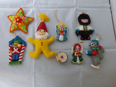 Vtg Lot of 8 Handcrafted Felt Sequin CHRISTMAS ORNAMENTS Eskimo Angel Drum Star