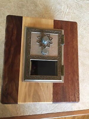 Post Office box door Lock Wooden Bank w/vintage USPS metal door