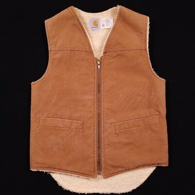 Vintage Carhartt USA Sherpa Lined Duck Brown Vest Jacket Size Small S Men's