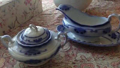 Antique Grindley Flow Blue Covered Sugar Bowl And Gravy With Liner