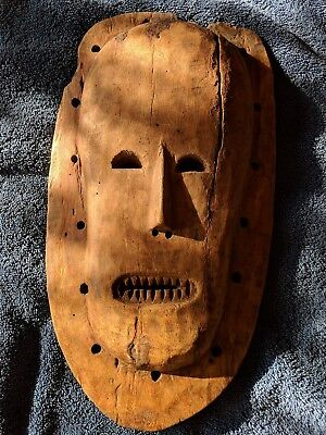 "Old Wooden Mask — 14"" x 7.5"" large hand carved wood African art origin unknown"
