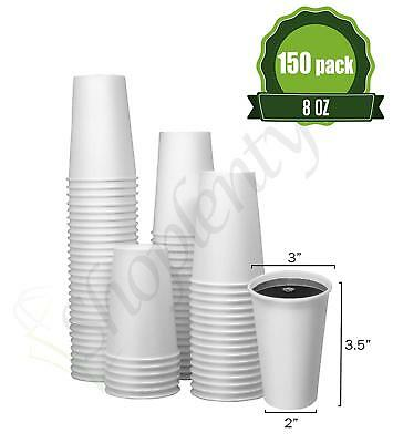 Hot White Paper Coffee Cups [ 8oz - 150 Pack ] Disposable Coffee Cups Ideal
