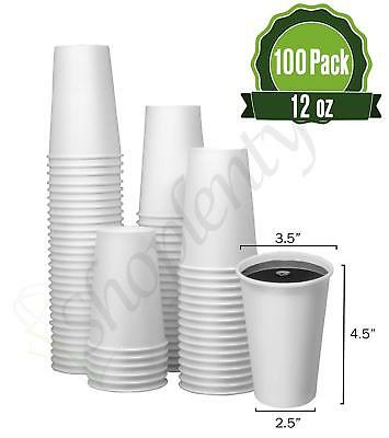 Hot White Paper Coffee Cups [ 12oz 100 Pack ] - Disposable Coffee Cups Ideal