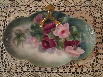 Antique Oval Scalloped Lamoges, W. G. France Plate, Gold Flowered Handle