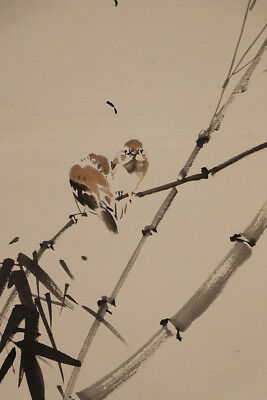 """JAPANESE HANGING SCROLL ART Painting """"Sparrows on  Bamboo"""" Asian antique  #E5277"""