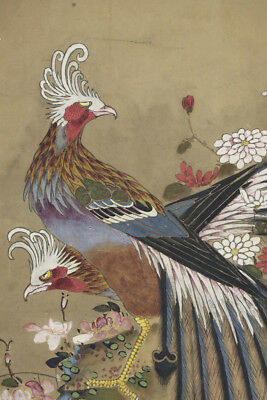 """JAPANESE HANGING SCROLL ART Painting """"Bird and Flowers"""" Asian antique  #E5271"""