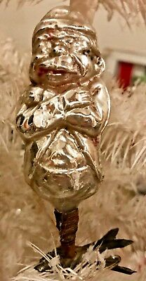 Antique Vintage Palmer Cox Brownie On Clip  Glass German Christmas Ornament