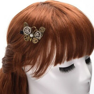 Vintage Steampunk Gear Butterfly Hair Clip Gothic Punk Hairpin Party Headwear