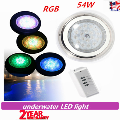 RGB Underwater Swimming Pool Spa Wall Mounted LED Lights with Remote Control 54W