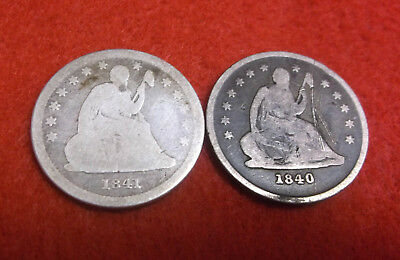 1840 O & 1841 O SEATED LIBERTY QUARTERS New Orleans 25c U.S. Silver Coins