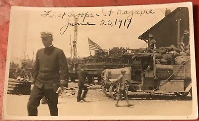 Historically Important WW I Real Photo Postcard, AEF Arrives At St. Nazaire 1917