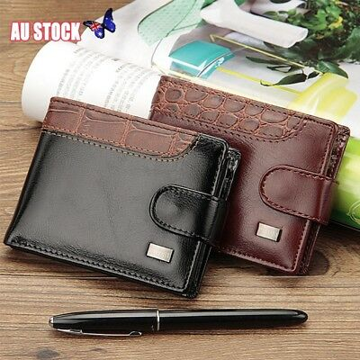 Fashion Mens Leather Wallet RFID SAFE Contactless Card Blocking ID Protection AU