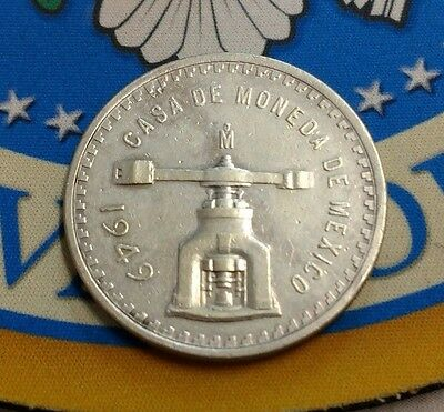 First Troy Ounce Silver Coin Made in the American Continent 1949 Mexico Una Onza