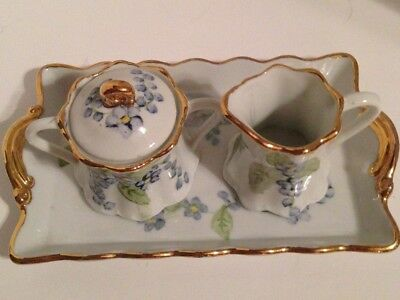 Porcelain- Sugar & Creamer with Matching Tray  - Hand Painted and Gold Trim