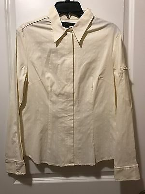 Express Long Sleeve Dress Shirt size 11-12, 4% Stretch, Zip Front, Pinstripes