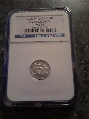 2007-W BURNISHED 1/10 oz $10 Platinum Eagle MS70, NGC, EARLY RELEASE LOW PRICE