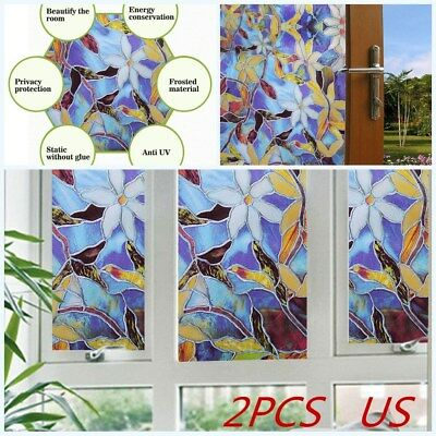 2PCS Frosted 3D Window Film Stained Floral Privacy Static Cling Glass Sticker US