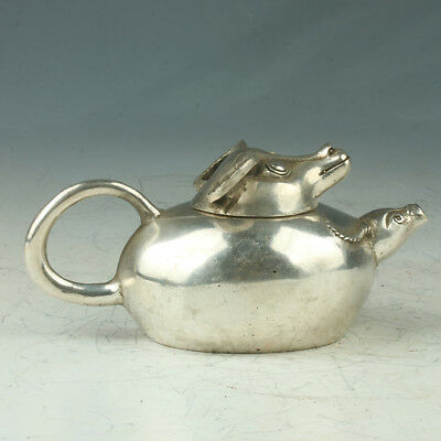 Old Chinese Silve Copper Teapot Carved Beauty Shape Mark Xuande RT0018.b