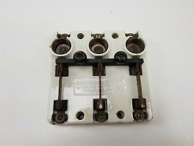 Antique Vintage Porcelain Knife Blade Triple Pole Fuse Block Switch