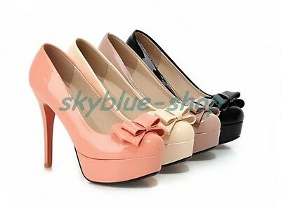 Womens Patent Leather Round Toe Bowknot Platform Stiletto High Heel Party Shoes