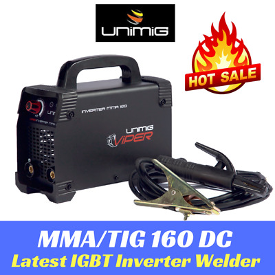 DC Inverter Welder 160 amp Unimig TIG ARC MMA with Arc Lead Set KUMJRVA160