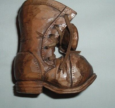 Vintage Small Hand Carved Wooden Shoe Folk Art Collectible