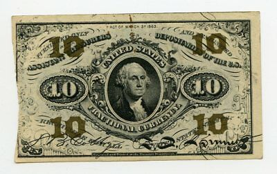 1863 United States US 10 Cent Fractional Currency Note FR #1255 3rd Issue
