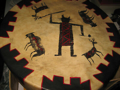 """Vintage DRUM NATIVE AMERICAN INDISN 15"""" Single sided Pow Wow Tom Tom Hand Beater"""