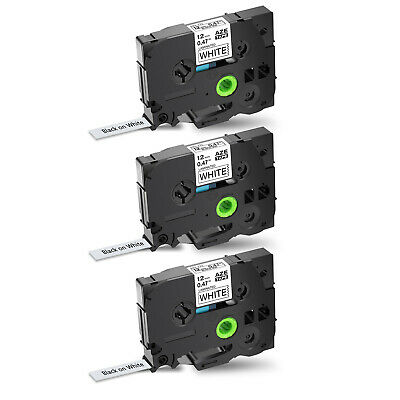 3PK TZe TZ-231 Black on White Label Tape For Brother P-Touch PT-D200 12mmx8m