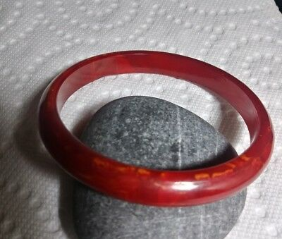 Vintage GENUINE BAKELITE RED / Yellow Marbled Bangle / Bracelet TESTED