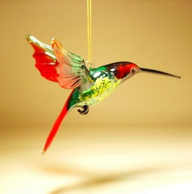 Blown Glass Figurine Bird Hanging Red and Green HUMMINGBIRD Ornament
