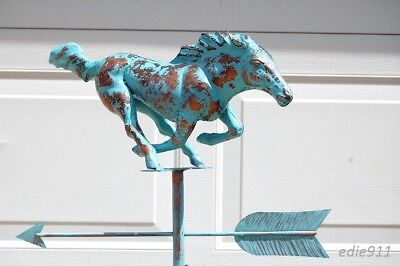 3D RACING GALLOPING HORSE Weathervane AGED COPPER PATINA FINISH Handcrafted NEW