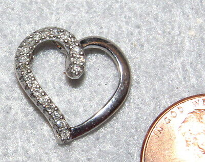 Vintage Sterling Silver Charm Heart Pendant Charm CZ Inlaid .925