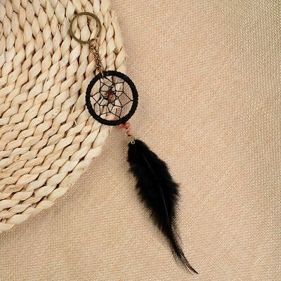 Key Ring Charm Black Dream Catcher Handmade Handcraft Feather Fashion Key Chain
