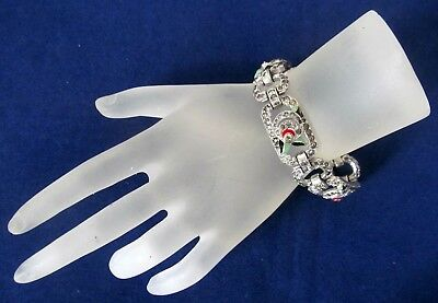 Vintage Art Deco Statement Bracelet Decorated With Enamel And Grey Rhinestones