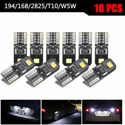 10Pcs Car Canbus 2825 T10 168 194 W5W Dome License Side Marker LED Light Bulbs