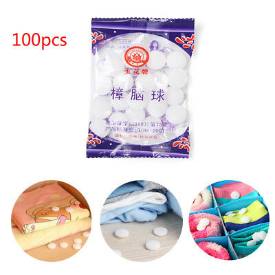 100PCS Protect From Mildew Moth Insect Mothballs Health Safe Camphor Ball AU