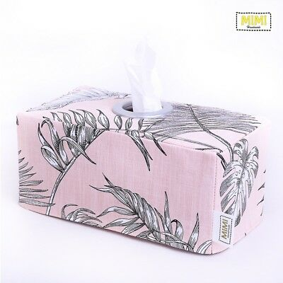 Modern Handmade Tissue Box Cover Nursery Bathroom PINK BOTANICAL LEAF