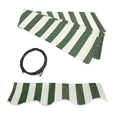ALEKO Fabric Replacement For 12x10 Ft Retractable Awning Green and White Color