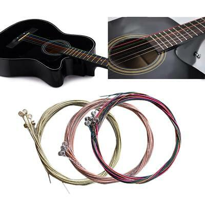 Set Of 6Pcs Steel Guitar Strings Rainbow Red Brass Color for Acoustic Guitar
