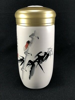 Z25 Asian Chinese Tea  CADDY Container Jar W/ Lid Bamboo Painted Marked Amt 1977