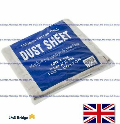 3 x PREMIUM QUALITY HEAVY DUTY COTTON TWILL DUST SHEET 3.2m x 2.5m PROFESSIONAL