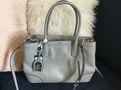 lauren by ralph lauren Fairfield Pebbled City Shopper Tote Dove Grey Handbag 6724367818