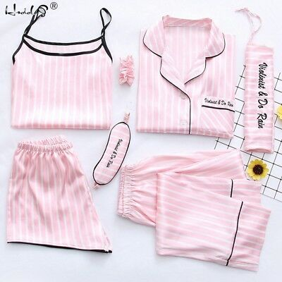 7PCS Womens Silk Satin Pajama Sets Stripe Sleepwear Nightwear Pyjamas Loungewear