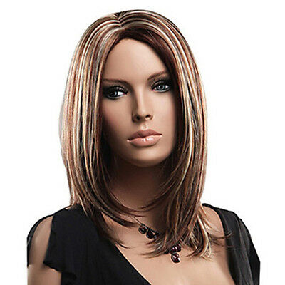 BU_ Women's Fashion Full Wigs Medium Mix Blonde Brown Straight Cosplay Hair Wig