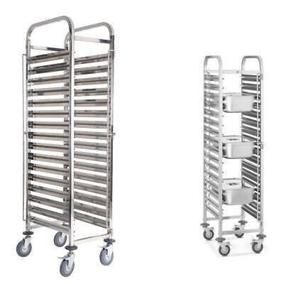 16 Levels Stainless Steel Gastronorm Bakery Trolley Cart Cake Trolley Shelving