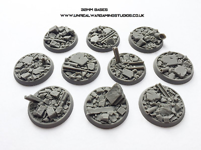 25mm, 32mm, 40mm Urban Rubble resin cast bases for wargaming MULTI LISTING