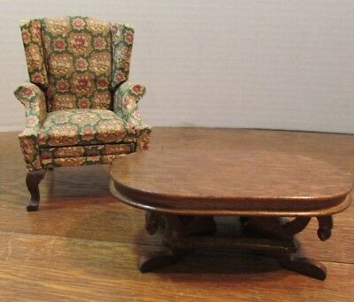 Vintage Dollhouse Miniatures  Wooden ornate green chair/coffee table Furniture