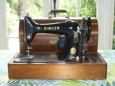 Vintage 1953 Singer Electric Sewing Machine with Bentwood Case Beautiful
